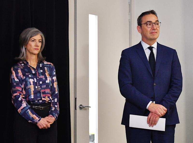 South Australian Chief Public Health Officer Nicola Spurrier and Premier Steven Marshall.