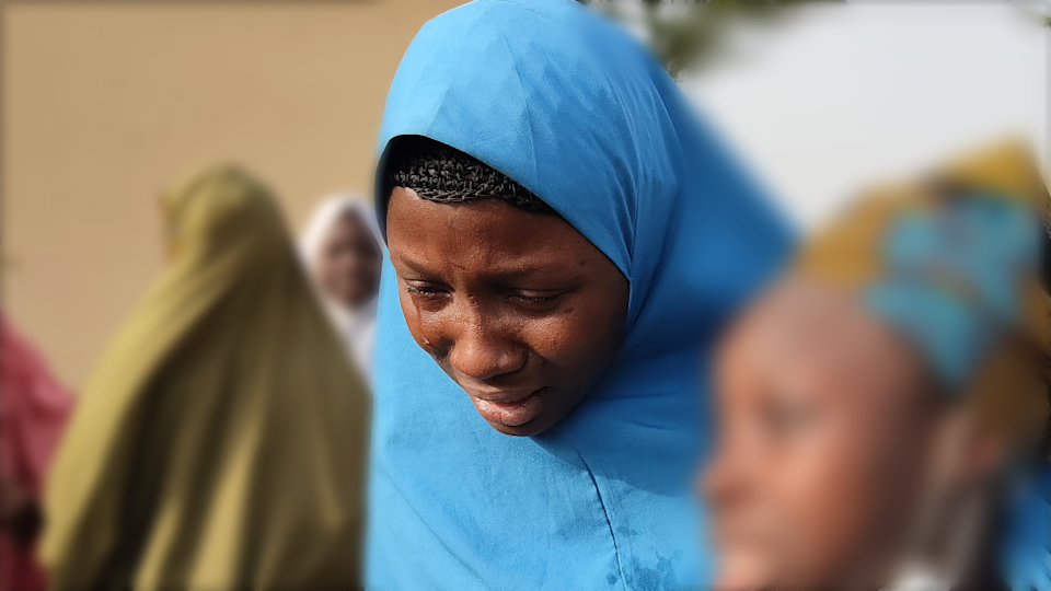 A mother in tears of one the girls kidnapped in Zamfara state in March 2021 - Nigeria