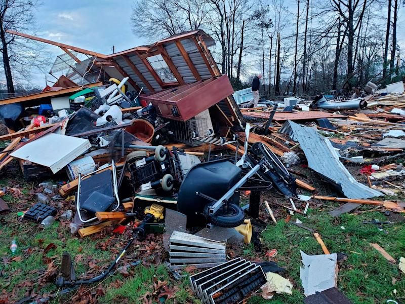 The trailer home of an elderly couple in Louisiana was demolished in high winds: AP