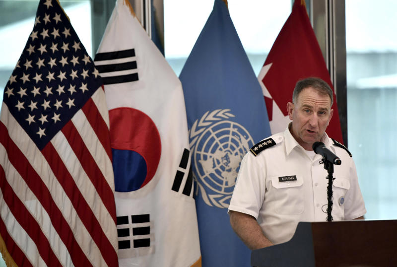 U.S. Gen. Robert Abrams, commander of the United Nations Command, speaks during a commemorative ceremony for the 66th anniversary of the Korean War Armistice Agreement at the truce village of Panmunjom in the Demilitarized Zone (DMZ) dividing the two Koreas Saturday, July 27, 2019. (Jung Yeon-je/Pool via AP)