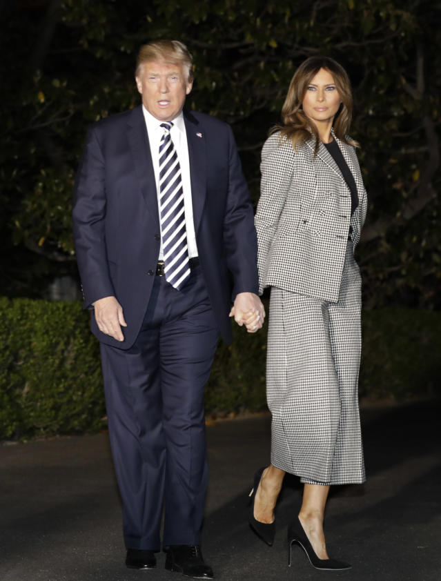 Trump recycled her Dior suit to greet the U.S. citizens who had been detained in North Korea. (Photo: Yuri Gripas/Bloomberg via Getty Images)