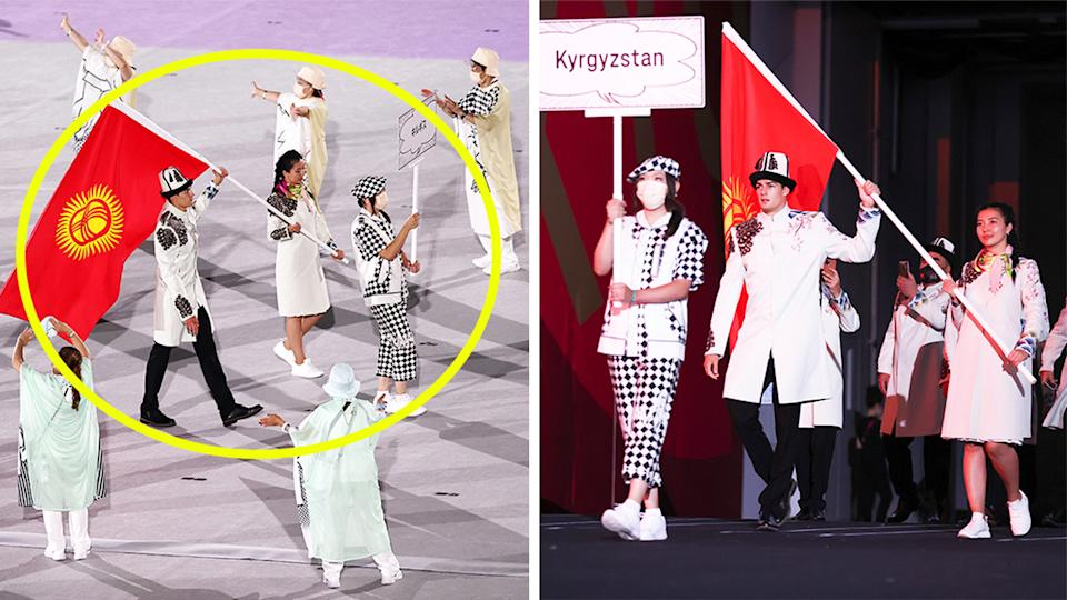 Team Kyrgyzstan (pictured left) not wearing masks during the opening ceremony.