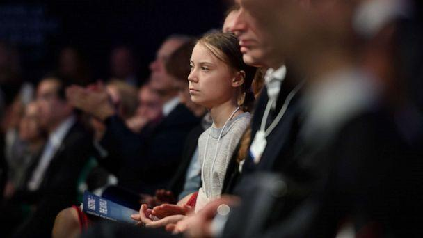 PHOTO: Swedish climate activist Greta Thunberg listens to the speech of U.S. President Donald Trump at the World Economic Forum in Davos, Switzerland, Jan. 21, 2020. (Fabrice Coffrini/AFP via Getty Images)