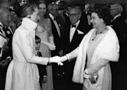 <p>One queen meets another! No, but seriously, how does Meryl Streep always manage to get it right? At the premiere of <em>Kramer vs. Kramer</em>, the A-list actress donned a full white skirt and crisp white evening jacket to meet the monarch.</p>