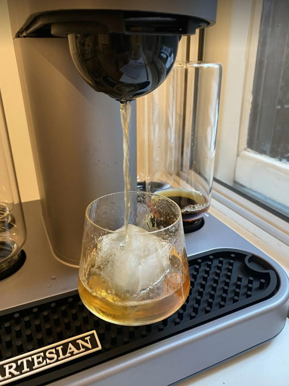 """It'llturn your living space into the best bar in town. All you have to do is insert a cocktail pod of your choice, fill a bottle with the liquor to match, choose your cocktail strength, push a button and enjoy!<br /><br /><strong>Promising review:</strong>""""When I first caught wind of the Bartesian premium cocktail machine ($349.99 on Amazon), my first thought was does anyone actually need this gadget? But after trying it for myself, I can say the answer is a firm YES, and here's why. I love making cocktails at home, and while I'm no bartender, I feel very comfortable shaking a spicy margarita, stirring a negroni, or whipping up a Pisco sour. But making craft cocktails at home requires many (often expensive) ingredients, bar tools, time and effort.<strong>With the Bartesian though, you can make fancy drinks with the click of a button — literally.</strong>Once you turn the Bartesian on, it prompts you to insert a cocktail capsule. The smart gadget recognizes the cocktail you're trying to make and will ensure you've placed the proper spirit in the bottle (I know, it's mind-blowing). Next, it prompts you to choose your cocktail strength (there's even a mocktail option), and to place a glass with ice underneath the spout. Next, the Bartesian will start pouring your craft cocktail. The whole process takes about 20 seconds and it's all very exciting.<strong>With many bars closed and people quarantining or feeling hesitant about going out to eat, this gadget allows you to make professional-quality cocktails at home.</strong>"""" —<a href=""""https://www.buzzfeed.com/hannahloewentheil"""" target=""""_blank"""" rel=""""noopener noreferrer"""">Hannah Loewentheil</a><br /><br /><strong><a href=""""https://www.amazon.com/dp/B07PJ5Q943?&linkCode=ll1&tag=huffpost-bfsyndication-20&linkId=8d395080be5c909f682c19dd1d9a7c54&language=en_US&ref_=as_li_ss_tl"""" target=""""_blank"""" rel=""""noopener noreferrer"""">Get it from Amazon for $349.85.</a></strong>"""