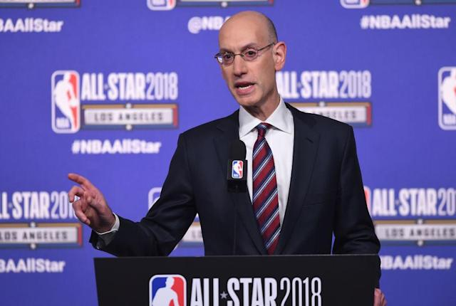 NBA Commissioner Adam Silver speaks during a press conference at Staples Center on Feb. 17, 2018, in Los Angeles. (Getty)