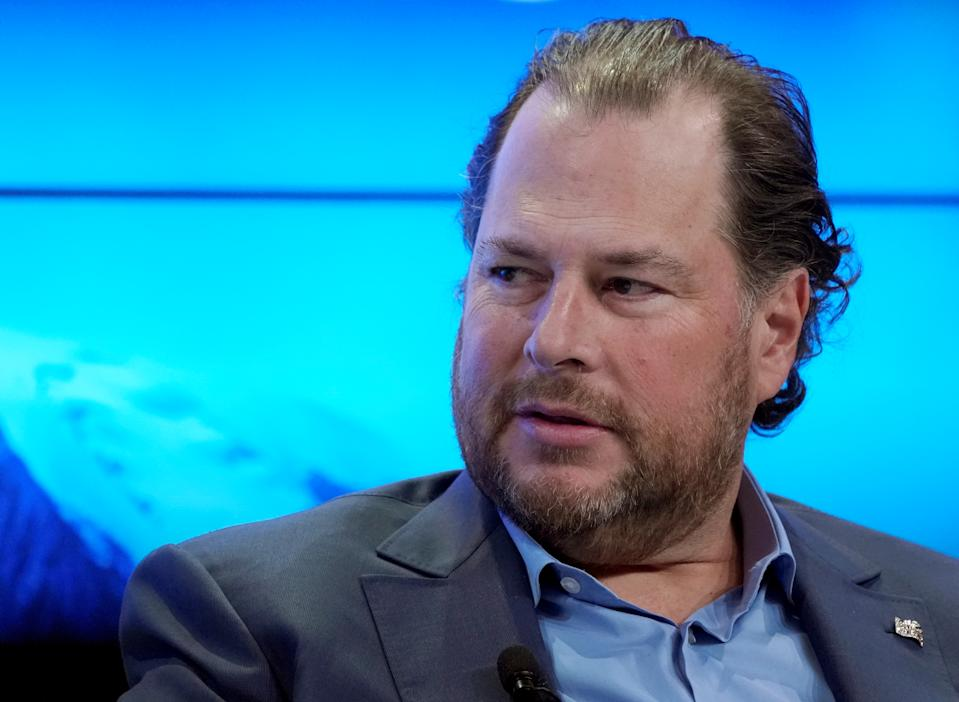 Marc R. Benioff, Chairman and Chief Executive Officer of Salesforce, Member of the Board of Trustees of World Economic Forum, attends the World Economic Forum (WEF) annual meeting in Davos, Switzerland, January 23, 2018. REUTERS/Denis Balibouse