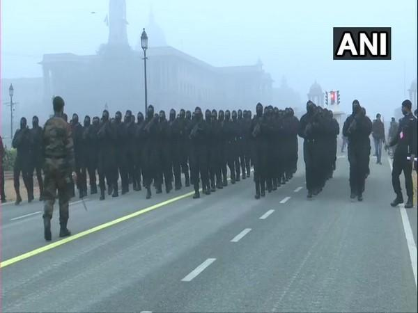 Security forces carry out Republic Day parade rehearsals at Rajpath. (Photo/ANI)