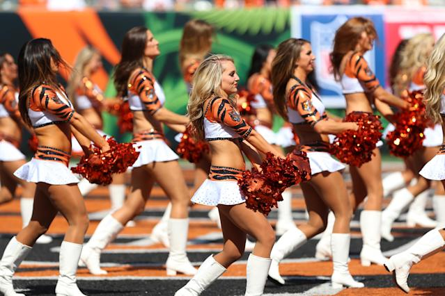 <p>Cincinnati Bengals Cheerleaders perform during the NFL game against the Baltimore Ravens and the Cincinnati Bengals on September 10, 2017, at Paul Brown Stadium in Cincinnati, OH. The Ravens defeated the Bengals 20-0. (Photo by Ian Johnson/Icon Sportswire via Getty Images) </p>