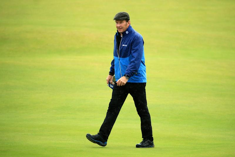 Sir Nick Faldo looks on during a practice round prior to the 148th Open Championship held on the Dunluce Links at Royal Portrush Golf Club on July 17, 2019 in Portrush, United Kingdom.