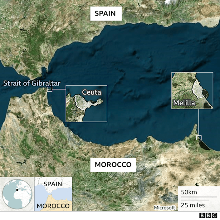 A map showing Melilla and Ceuta