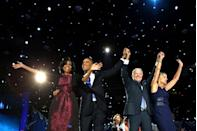 <p>The Obamas and Bidens celebrate the incumbent president's re-election in the 2012 race, kicking off the second term of the Obama/Biden administration. </p>
