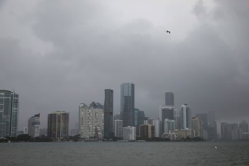 The city skyline during rain caused by Tropical Storm Eta, in Miami