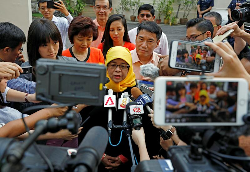 Halimah Yacob, speaks to the media at the Elections Department in Singapore September 11, 2017.  (Edgar Su / Reuters)