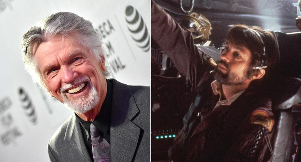 Tom Skerritt pictured in 2016 (r) and in Ridley Scott's sci-fi masterpiece Alien, which returns to U.K. cinemas on 1 March (Getty/20th Century Fox/Park Circus)