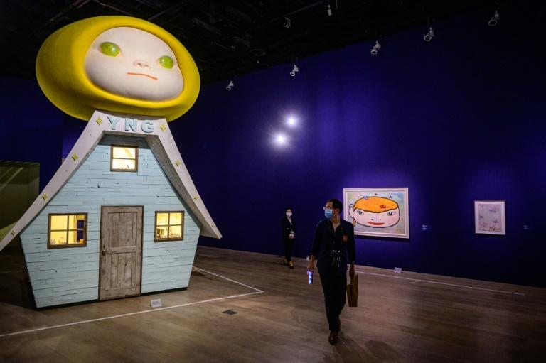 Pieces by artist Yoshitomo Nara are among the works on display at a major exhibition of contemporary Japanese artists opening in Tokyo as coronavirus infections spike