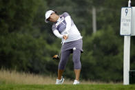 Jasmine Suwannapura from Thailand, hits her tee shot on the ninth hole during the second round of the LPGA Drive On Championship golf tournament at Inverness Golf Club in Toledo, Ohio, Saturday, Aug. 1, 2020. (AP Photo/Gene J. Puskar)