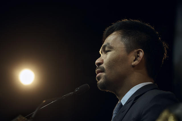 Manny Pacquiao speaks during a news conference on Tuesday, May 21, 2019, in New York. (AP/Andres Kudacki)