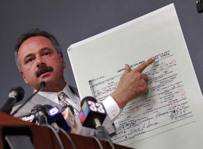 Maricopa County Sheriff's Cold Case Posse Lead Investigator Mike Zullo announces Tuesday, July 17, 2012, in Phoenix that President Obama's birth certificate, as presented by the White House in April 2011, is a forgery based on an investigation by the Sheriff's office. (AP Photo/Matt York)