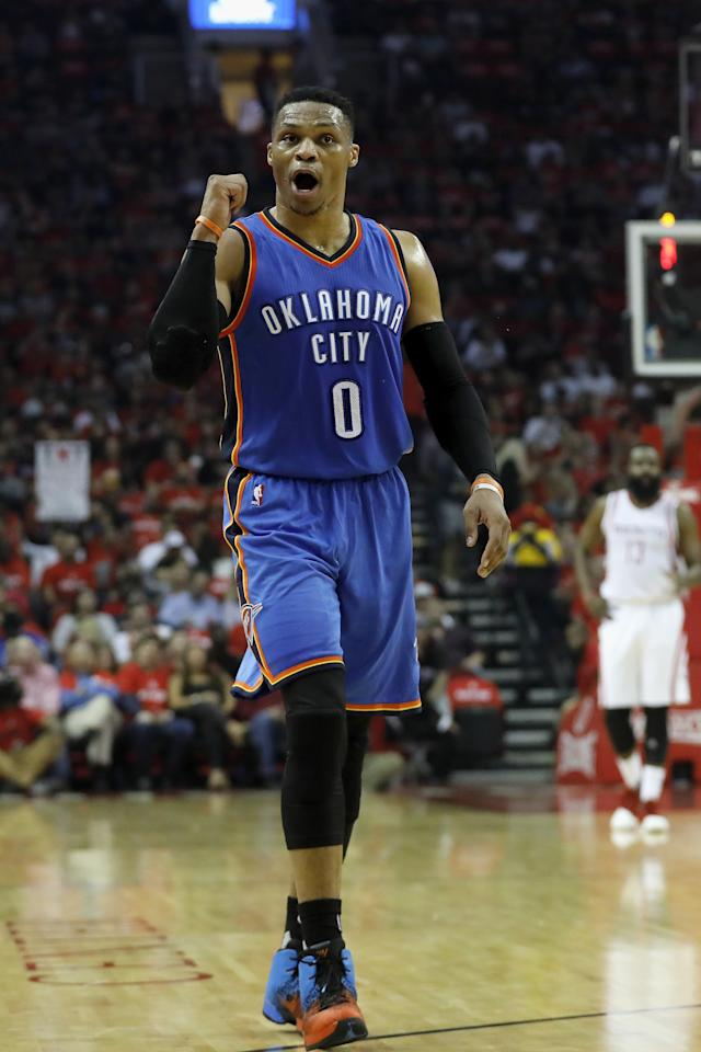 HOUSTON, TX - APRIL 19: Russell Westbrook #0 of the Oklahoma City Thunder reacts to a call against the Houston Rockets in the first half of Game Two of the Western Conference quarterfinals game during the 2017 NBA Playoffs at Toyota Center on April 19, 2017 in Houston, Texas. NOTE TO USER: User expressly acknowledges and agrees that, by downloading and or using this photograph, User is consenting to the terms and conditions of the Getty Images License Agreement. Tim Warner/Getty Images/AFPHOUSTON, TX - APRIL 19: Russell Westbrook #0 of the Oklahoma City Thunder reacts to a call against the Houston Rockets in the first half of Game Two of the Western Conference quarterfinals game during the 2017 NBA Playoffs at Toyota Center on April 19, 2017 in Houston, Texas. NOTE TO USER: User expressly acknowledges and agrees that, by downloading and or using this photograph, User is consenting to the terms and conditions of the Getty Images License Agreement. Tim Warner/Getty Images/AFP (AFP Photo/Tim Warner)