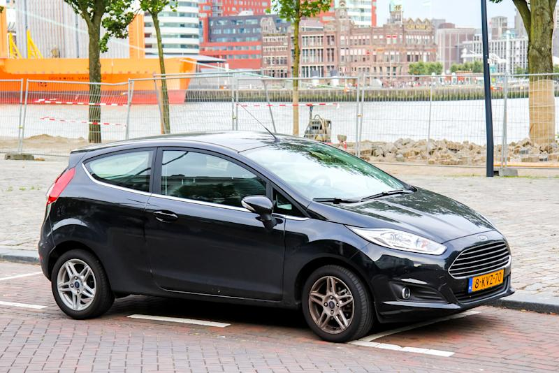 Rotterdam, Netherands - August 9, 2014: Motor car Ford Fiesta is parked at the city street.