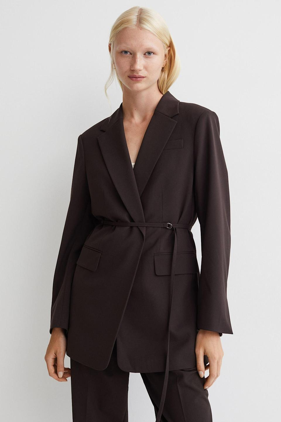 <p>Fashion meets business in this stylish <span>Belted Jacket</span> ($50), which exudes confidence and know-how. Complete your look with trousers and some kitten heels.</p>