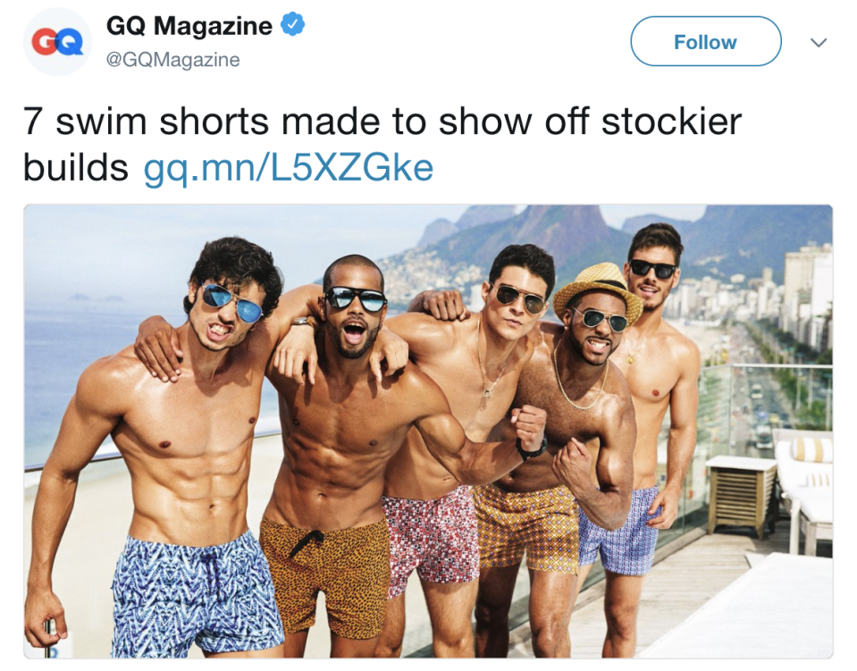 GQ magazine is under fire on Twitter for their perception of what a 'stocky' man looks like [Photo: Twitter]