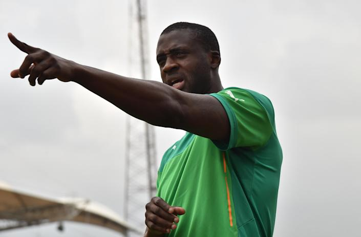 Ivory Coast's midfielder Yaya Toure gestures prior to a training session at Malabo stadium, on the eve of the team's first match in the 2015 African Cup of Nations football tournament, on January 19, 2015 (AFP Photo/Issouf Sanogo)