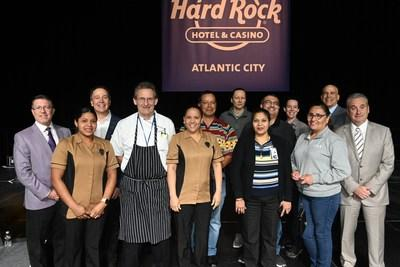 Hard Rock Atlantic City team members who won cash and prizes during the morning Town Hall Meeting alongside of the leadership team in attendance