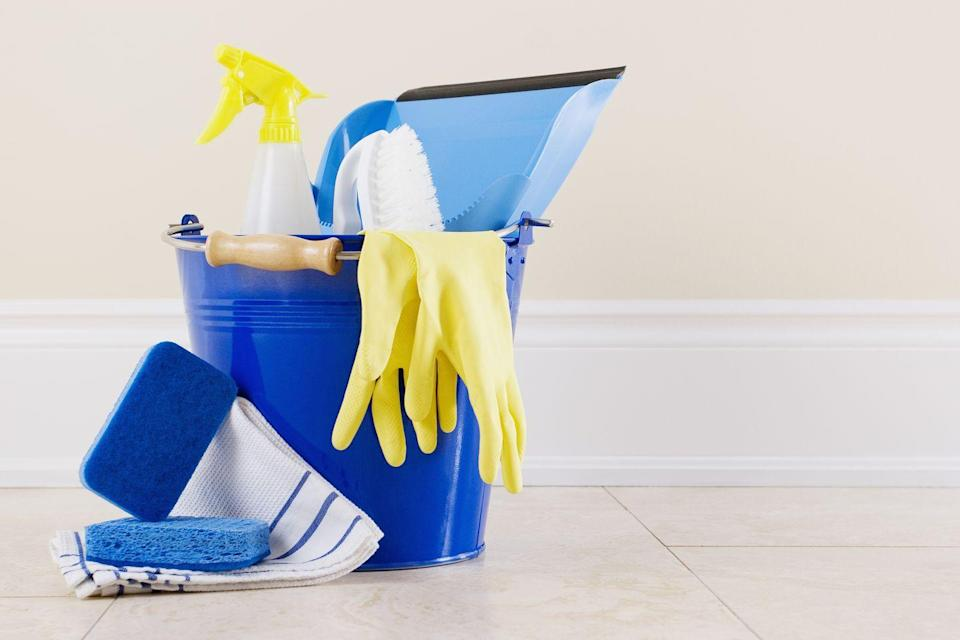 """<p>Use a plastic caddy, not valuable shelf space, to store <a href=""""https://www.womansday.com/home/organizing-cleaning/g23786765/cleaning-organizing-great-value-awards-2018/"""" rel=""""nofollow noopener"""" target=""""_blank"""" data-ylk=""""slk:cleaning supplies"""" class=""""link rapid-noclick-resp"""">cleaning supplies</a>. Keep it on the broom closet floor (locked, if you have small children) and tote it from room to room.</p><p><strong><a class=""""link rapid-noclick-resp"""" href=""""https://www.amazon.com/Storex-Large-Assorted-Colors-00948E06C/dp/B06WD4BKX7/?tag=syn-yahoo-20&ascsubtag=%5Bartid%7C10070.g.3310%5Bsrc%7Cyahoo-us"""" rel=""""nofollow noopener"""" target=""""_blank"""" data-ylk=""""slk:SHOP PLASTIC CADDIES"""">SHOP PLASTIC CADDIES</a></strong></p>"""
