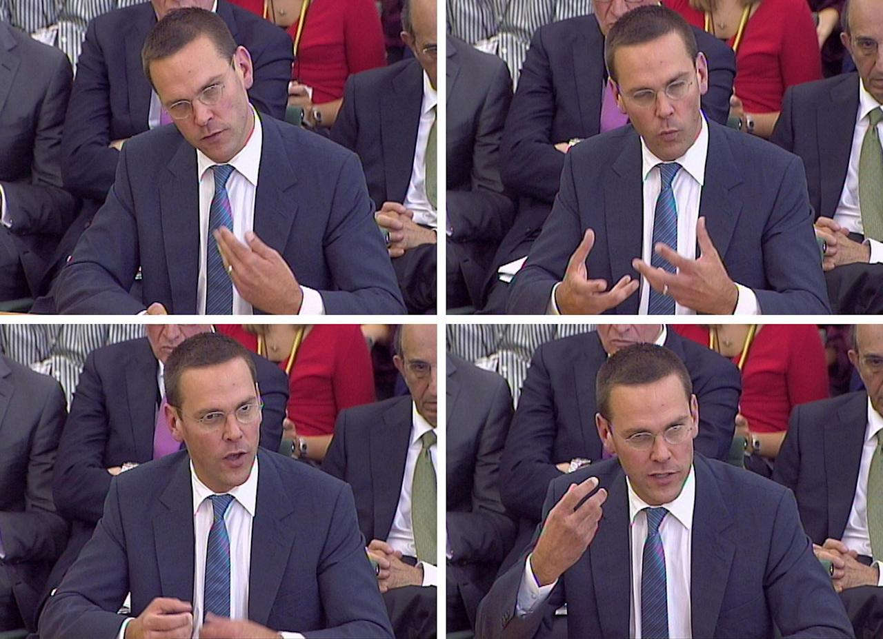 James Murdoch, gives evidence to the Culture, Media and Sport Select Committee on the News of the World phone-hacking scandal in this image taken from TV in Portcullis House in central London Tuesday July 19 2011. (AP Photo/ PA) UNITED KINGDOM OUT