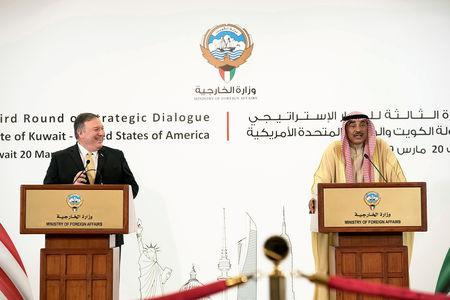 U.S. Secretary of State Mike Pompeo and Kuwait's Foreign Minister Sabah Al-Khalid al-Sabah speak during a news conference in Kuwait City, Kuwait March 20, 2019. REUTERS/Stephanie McGehee