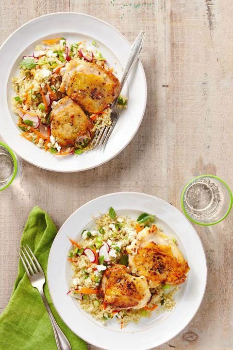 """<p>Take a break from all the chocolate with this healthy and tasty home-cooked meal<span class=""""redactor-invisible-space"""">.</span></p><p><span class=""""redactor-invisible-space""""><strong><a href=""""https://www.countryliving.com/food-drinks/recipes/a37757/salt-and-pepper-chicken-with-spring-quinoa-pilaf-recipe/"""" rel=""""nofollow noopener"""" target=""""_blank"""" data-ylk=""""slk:Get the recipe"""" class=""""link rapid-noclick-resp"""">Get the recipe</a>.</strong></span> </p><p><a class=""""link rapid-noclick-resp"""" href=""""https://www.amazon.com/Victoria-Skillet-Seasoned-Flaxseed-Certified/dp/B01726HD72/?tag=syn-yahoo-20&ascsubtag=%5Bartid%7C10050.g.1115%5Bsrc%7Cyahoo-us"""" rel=""""nofollow noopener"""" target=""""_blank"""" data-ylk=""""slk:SHOP SKILLETS"""">SHOP SKILLETS</a></p>"""