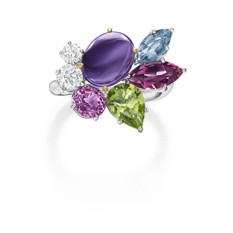 """<p><a class=""""link rapid-noclick-resp"""" href=""""https://www.harrywinston.com/en"""" rel=""""nofollow noopener"""" target=""""_blank"""" data-ylk=""""slk:SHOP NOW"""">SHOP NOW</a></p><p>New York's iconic jeweller isn't solely about diamonds. Its colourful Winston in Bloom ring features a clutch of colourful precious gems arranged as a dazzling bouquet of """"petals"""" and includes a silky purple amethyst cabochon. </p><p>Amethyst, coloured gemstone and diamond ring, price on request, <a href=""""https://www.harrywinston.com/en"""" rel=""""nofollow noopener"""" target=""""_blank"""" data-ylk=""""slk:Harry Winston"""" class=""""link rapid-noclick-resp"""">Harry Winston</a>.</p>"""