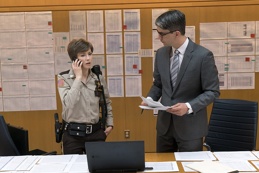 <p>Carrie Coon as Gloria Burgle, Hamish Linklater as Larue Dollard in FX's <i> Fargo</i>. (Photo: Chris Large/FX) </p>