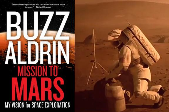 "The cover of Apollo 11 moonwalker Buzz Aldrin's book ""Mission to Mars: My Vision for Space Exploration"" and a still from a video preview. The book lays out Aldrin's plan to land humans on Mars by 2035."
