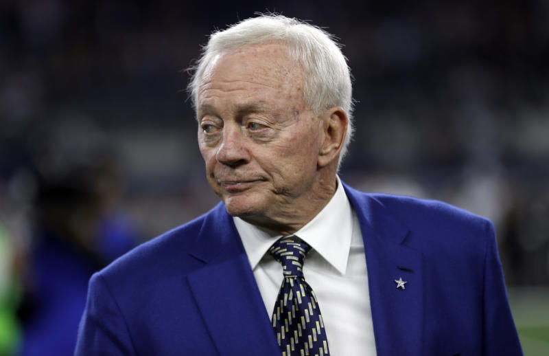 Cowboys owner Jerry Jones was questioned by Colin Kaepernick's legal team on Thursday. (AP)