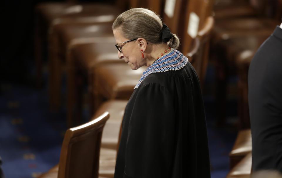 U.S. Supreme Court Associate Justice Ruth Bader Ginsburg arrives to watch U.S. President Barack Obama's State of the Union address to a joint session of the U.S. Congress on Capitol Hill in Washington, January 20, 2015. REUTERS/Joshua Roberts (UNITED STATES  - Tags: POLITICS)