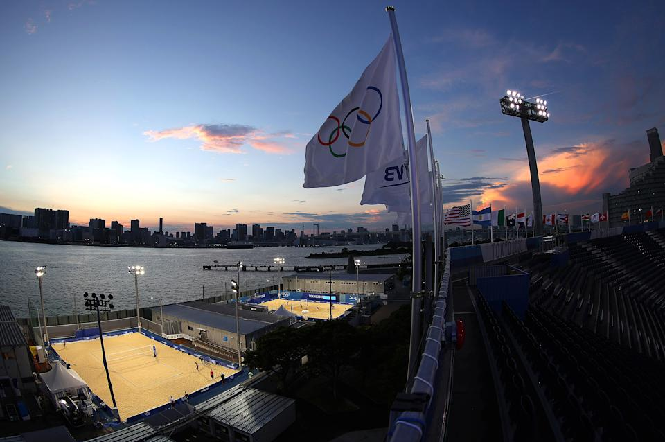 TOKYO, JAPAN - JULY 22:  A general view of practice courts of Shiokaze Park and Tokyo Bay as Team China Women's Beach Volleyball team practices prior to the Tokyo 2020 Olympic Games on July 22, 2021 in Tokyo, Japan. (Photo by Sean M. Haffey/Getty Images)