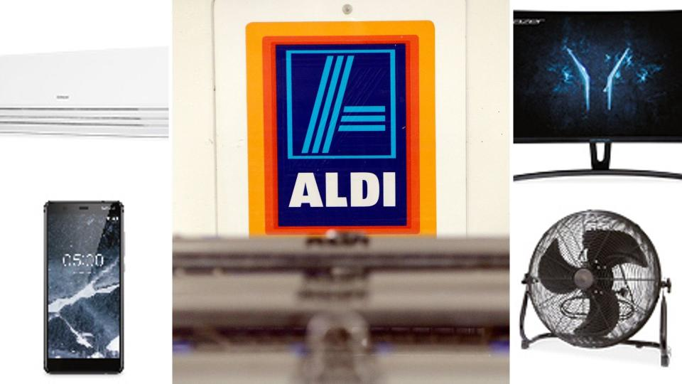 Aldi sign in the centre, surrounded by Special Buys smartphone, air conditioner, monitor and fan.