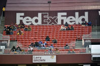 FILE - In this Dec. 9, 2018, file photo, FedEx Field is less than full during the second half of an NFL football game between the Washington Redskins and the New York Giants in Landover, Md. The title sponsor of the Redskins stadium wants them to change their name. FedEx said in a statement Thursday, July 2, 2020, We have communicated to the team in Washington our request that they change the team name. (AP Photo/Mark Tenally, File)