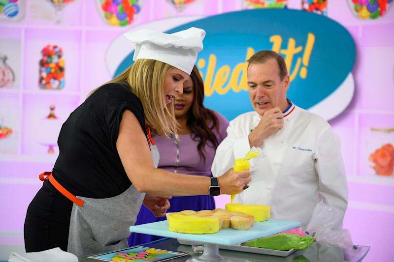 TODAY -- Pictured: (l-r) Jenna Bush Hager, Nicole Byer and Jacques Torres on Wednesday, July 10, 2019 -- (Photo by: Nathan Congleton/NBCU Photo Bank/NBCUniversal via Getty Images via Getty Images)