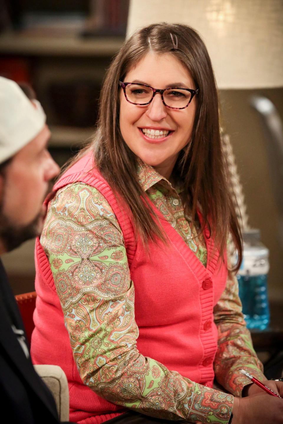 """LOS ANGELES - FEBRUARY 4: """"The D & D Vortex"""" -- Pictured: Amy Farrah Fowler (Mayim Bialik). When the gang finds out Wil Wheaton hosts a celebrity Dungeons and Dragons game involving William Shatner, Joe Manganiello, Kareem Abdul-Jabbar and Kevin Smith, deception and betrayal are the path to make it to the one open seat, on THE BIG BANG THEORY, Thursday, Feb. 21 (8:00-8:31 PM, ET/PT) on the CBS Television Network. (Photo by Michael Yarish/CBS via Getty Images)"""