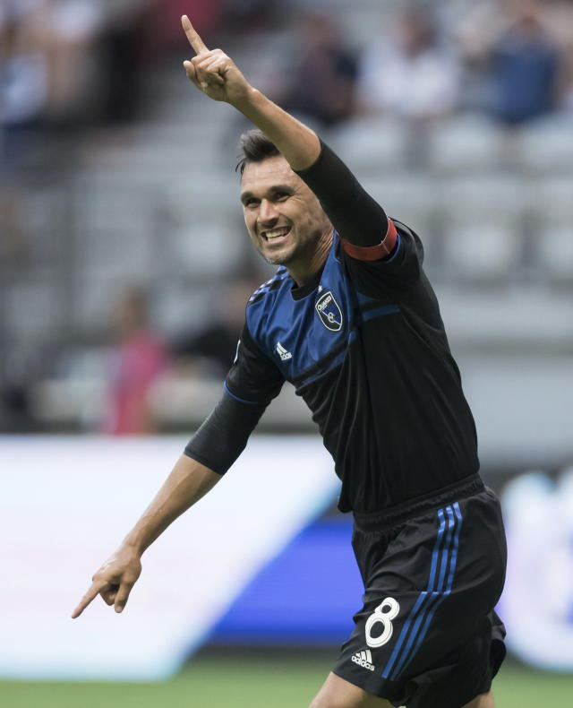 San Jose Earthquakes' Chris Wondolowski celebrates his goal against the Vancouver Whitecaps during the first half of an MLS soccer match in Vancouver, British Columbia, Saturday, July 20, 2019. (Darryl Dyck/The Canadian Press via AP)