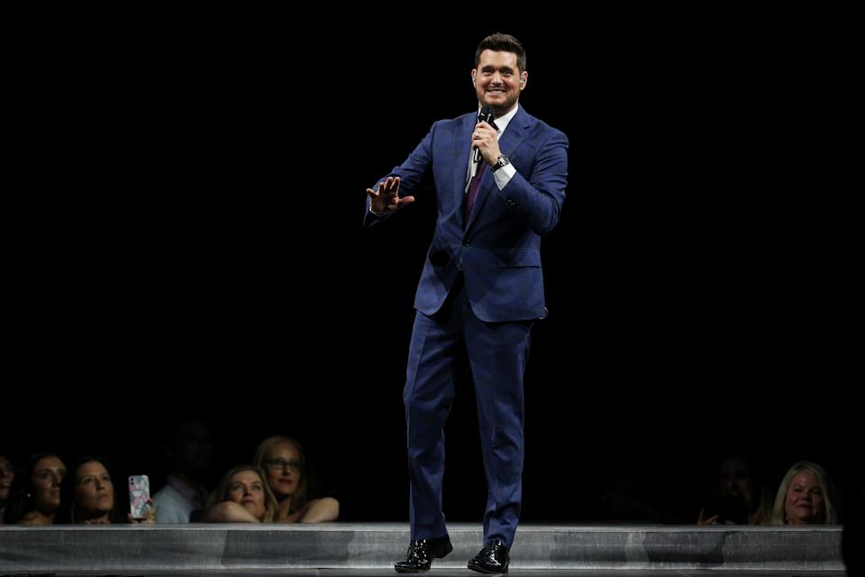 SYDNEY, AUSTRALIA - FEBRUARY 07: Michael Buble performs at Qudos Bank Arena on February 07, 2020 in Sydney, Australia. (Photo by Don Arnold/WireImage)