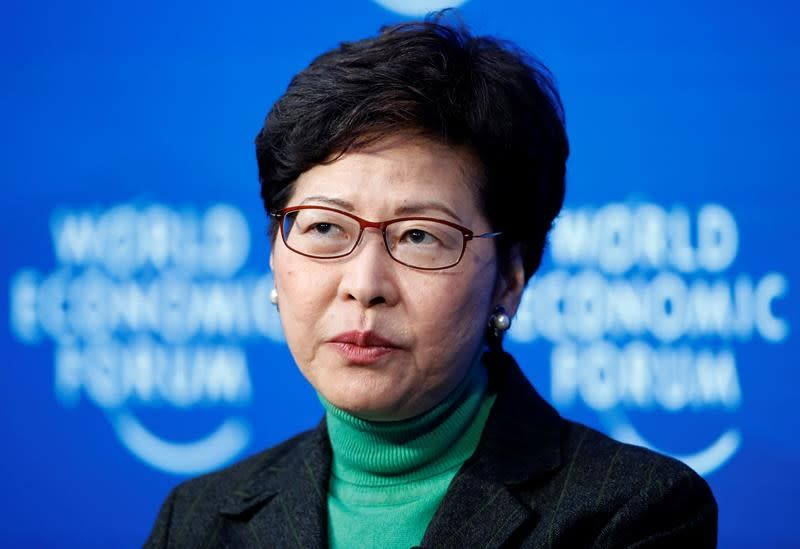The Latest: Hong Kong chief in Davos as city mired in crises