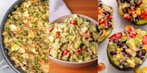 """<p><a href=""""https://www.delish.com/uk/cooking/a29557722/how-to-cook-quinoa/"""" rel=""""nofollow noopener"""" target=""""_blank"""" data-ylk=""""slk:Quinoa"""" class=""""link rapid-noclick-resp"""">Quinoa</a> is protein-rich and high in fibre, making it our go-to ingredient for when we're after something healthy and delicious. It's nutty flavour and teeny-tiny size makes it the perfect alternative to <a href=""""https://www.delish.com/uk/food-news/a28997170/how-to-cook-rice/"""" rel=""""nofollow noopener"""" target=""""_blank"""" data-ylk=""""slk:rice"""" class=""""link rapid-noclick-resp"""">rice</a>, whether it's served as a side or a main. And did we mention it tastes unbelievable in a superfood salad? (You'll love our <a href=""""https://www.delish.com/uk/cooking/recipes/a35445122/zesty-mediterranean-quinoa-salad-recipe/"""" rel=""""nofollow noopener"""" target=""""_blank"""" data-ylk=""""slk:Zesty Mediterranean Quinoa Salad"""" class=""""link rapid-noclick-resp"""">Zesty Mediterranean Quinoa Salad</a>). For a range of easy quinoa recipes, take a look at some of our favourites now including <a href=""""https://www.delish.com/uk/cooking/recipes/a32183592/quinoa-soup/"""" rel=""""nofollow noopener"""" target=""""_blank"""" data-ylk=""""slk:Quinoa Vegetable Soup"""" class=""""link rapid-noclick-resp"""">Quinoa Vegetable Soup</a> and <a href=""""https://www.delish.com/uk/cooking/recipes/a32183261/caprese-quinoa-bake-recipe/"""" rel=""""nofollow noopener"""" target=""""_blank"""" data-ylk=""""slk:Caprese Quinoa Bake"""" class=""""link rapid-noclick-resp"""">Caprese Quinoa Bake</a>. </p>"""