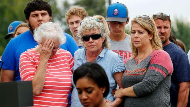 PHOTO: Friends and family of missing University of Iowa student Mollie Tibbetts react during a news conference, Aug. 21, 2018, in Montezuma, Iowa. (Charlie Neibergall/AP)