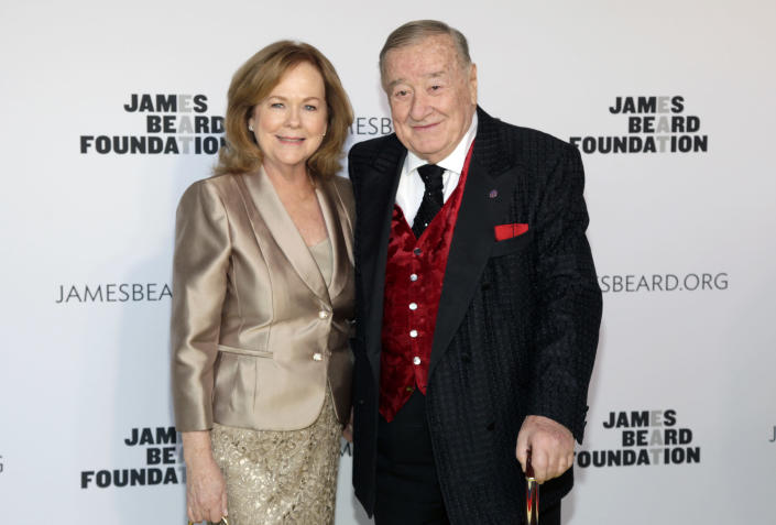 President of the James Beard Foundation Susan Ungaro, left, and restaurateur Sirio Maccioni, right, attend the 2014 James Beard Foundation Awards on Monday, May 5, 2014, in New York. (Photo by Andy Kropa/Invision/AP)