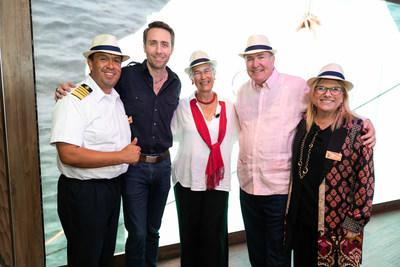 The Celebrity Flora Naming Ceremony brought together distinguished guests, employees and crew members to commemorate the debut of Celebrity Flora, the first ship of its kind designed specifically for the Galapagos Islands. (From left to right: Captain Vladimir Armas, Captain, Celebrity Flora; Philippe Cousteau. Jr., Co-Founder, EarthEcho International; Yolanda Kakabadse, Celebrity Flora Godmother; Richard D. Fain, Chairman and CEO, Royal Caribbean Cruises Ltd.; and Lisa Lutoff-Perlo, President and CEO, Celebrity Cruises)